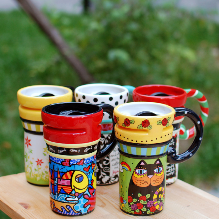 Colorful Coffee Mug With Lid On Luulla